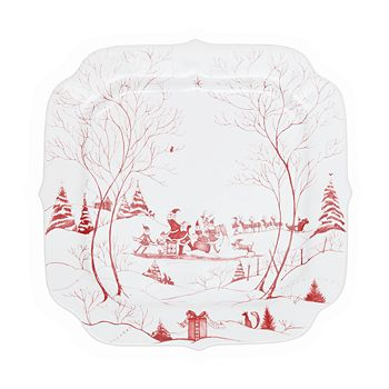 Juliska - Country Estate Winter Frolic Ruby Santa's Cookie Tray, Naughty & Nice List