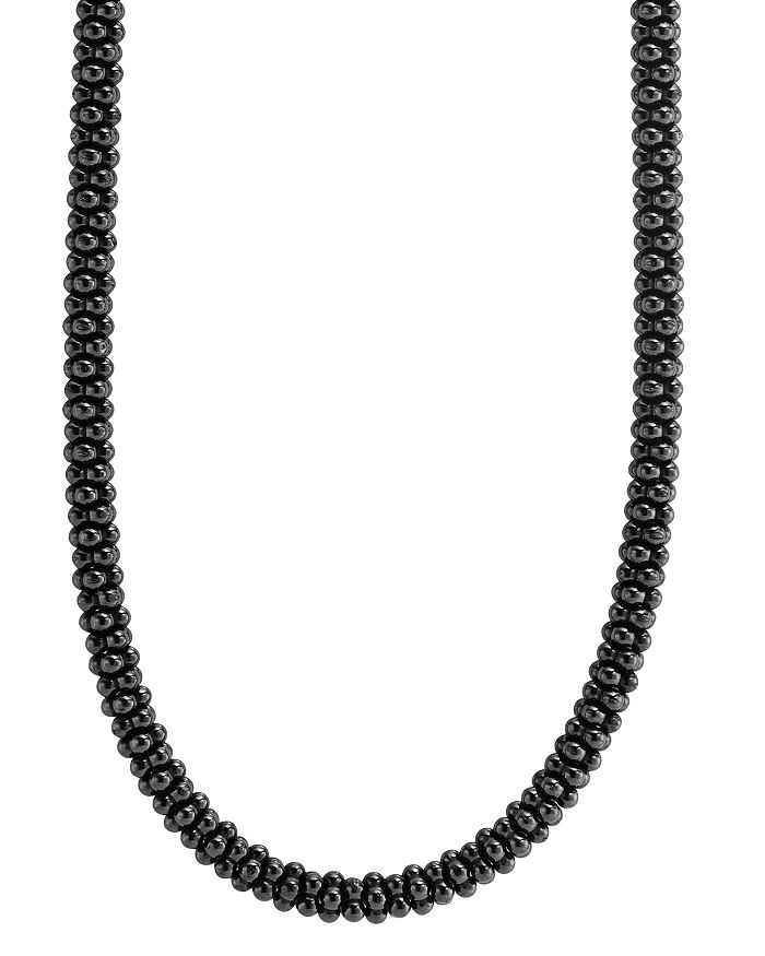 "LAGOS - Black Caviar Ceramic Necklace with 18K Gold, 16"""