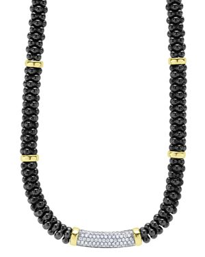 Lagos Black Caviar Ceramic and Pave Diamond Necklace with 18K Gold Stations, 16