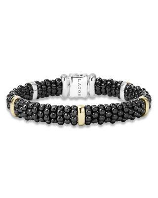 Black Caviar Ceramic Bracelet with 18K Gold Stations