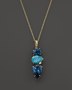 Vianna Brasil 18K Yellow Gold Pendant Necklace with Amazonite, London Blue Topaz and Diamond Accents
