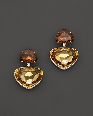 Vianna Brasil 18K Yellow Gold Earrings with Citrine and Diamond Accents