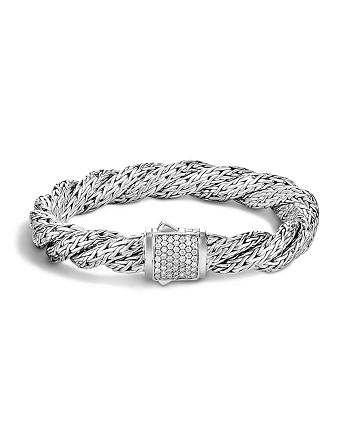 JOHN HARDY - Classic Chain Sterling Silver Medium Flat Twisted Chain Bracelet with Diamond Pavé