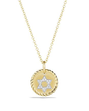 David Yurman - Cable Collectibles Star of David Necklace with Diamonds in 18K Gold