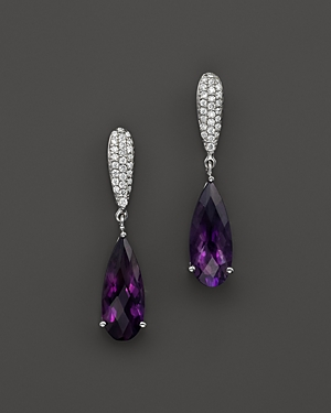 Amethyst and Diamond Drop Earrings in 14K White Gold - 100% Exclusive
