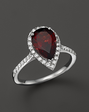 Garnet and Diamond Ring in 14K White Gold - 100% Exclusive