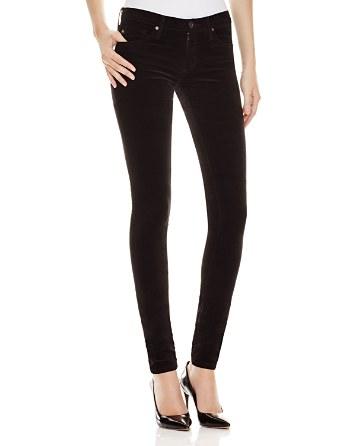 $AG Super Skinny Velvet Jeans in Super Black - Bloomingdale's