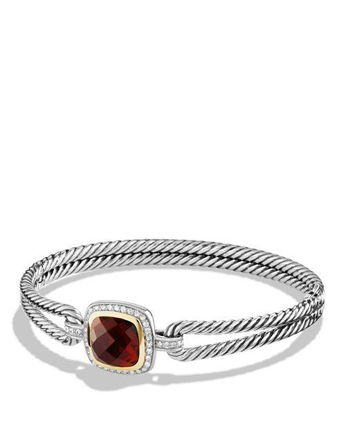 David Yurman Albion Bracelet With Garnet Diamonds And 18k Gold