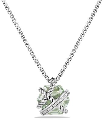 David Yurman - Petite Cable Wrap Necklace with Prasiolite and Diamonds