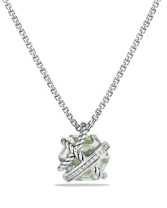 David Yurman - Petite Cable Wrap Necklace with Prasiolite and Diamonds
