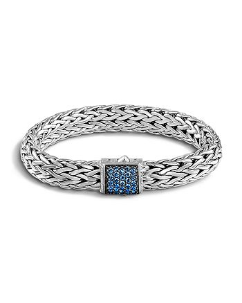 JOHN HARDY - Classic Chain Sterling Silver Lava Large Bracelet with Blue Sapphire