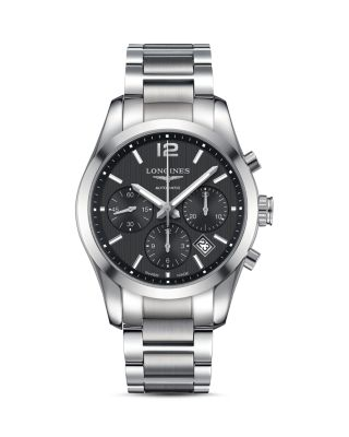 LONGINES Conquest Classic Stainless Steel Chronograph Bracelet Watch in Silver/ Black/ Silver