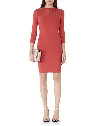 REISS - Kadriana Sheer Stripe Knitted Dress