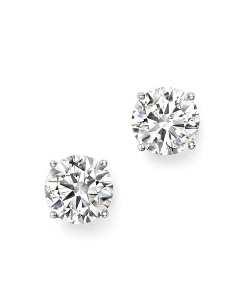 Certified Diamond Stud Earrings In 14k White Gold 3 0 Ct T W 100 Exclusive