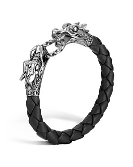 "JOHN HARDY - John Hardy ""Naga Collection"" Black Woven Leather Dragon Bracelet"