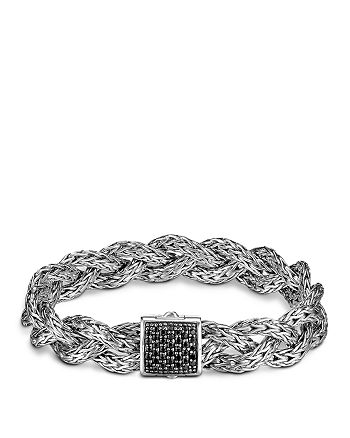 JOHN HARDY - John Hardy Classic Chain Silver Small Braided Chain Sterling Silver Bracelet with Black Sapphire
