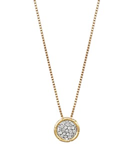 JOHN HARDY - John Hardy Bamboo 18K Gold and Diamond Pavé Small Round Pendant Necklace, 16""