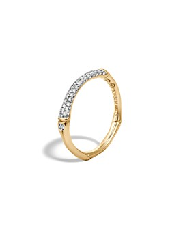 JOHN HARDY - John Hardy Bamboo 18K Yellow Gold Diamond Pavé Slim Band Ring