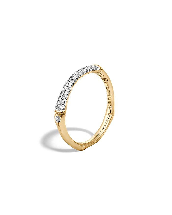 JOHN HARDY - John Hardy Bamboo 18K Yellow Gold Diamond Pavé Slim Band Ring