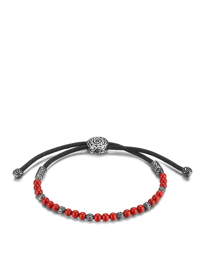 JOHN HARDY - John Hardy Men's Sterling Silver Classic Chain Beaded Bracelet with Reconstructed Coral