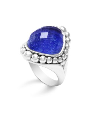 Sterling Silver Maya Doublet Dome Ring With Lapis