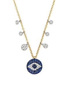 """Meira T - Sapphire and Diamond Evil Eye Necklace in 14K Yellow Gold, 16"""""""