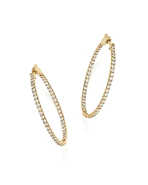 Diamond Inside Out Hoop Earrings in 14K Yellow Gold, 2.0 ct. t.w.