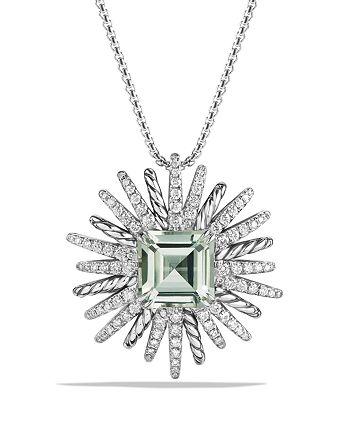 David Yurman - Starburst Necklace with Diamonds and Prasiolite in Silver