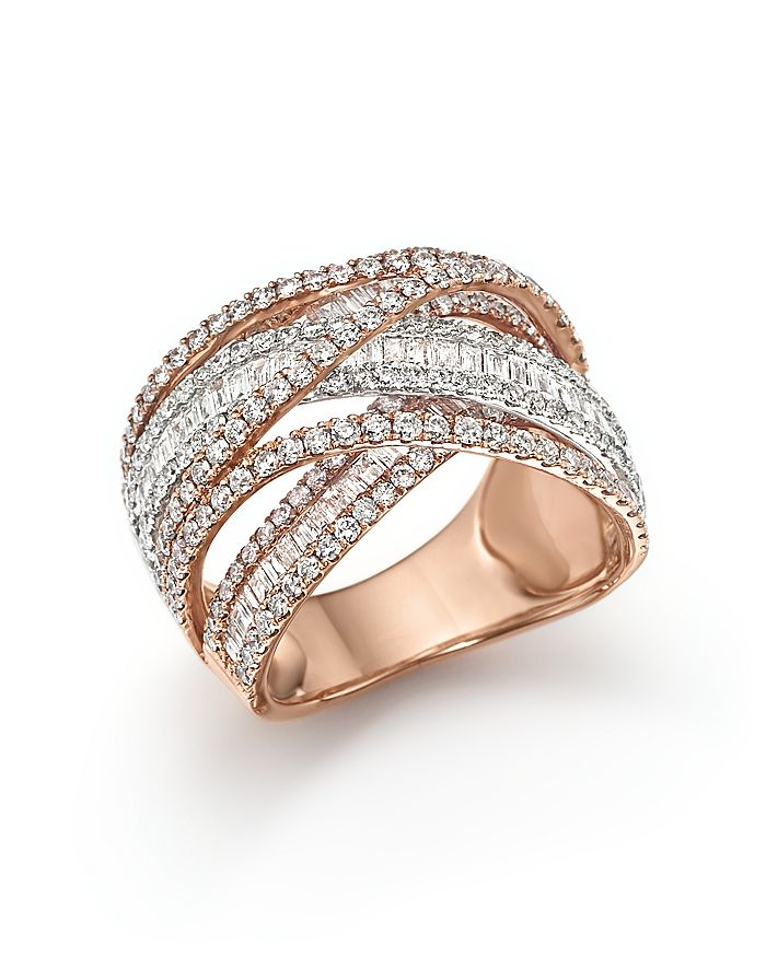 Bloomingdale's - Diamond Crossover Ring in 14K White and Rose Gold, 2.70 ct. t.w. - 100% Exclusive