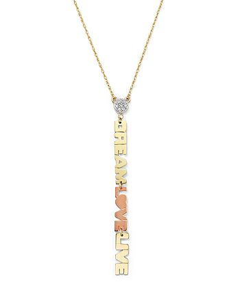 Jane Basch - 14K Gold Dream Live Love Charm Necklace with Diamonds, 16""