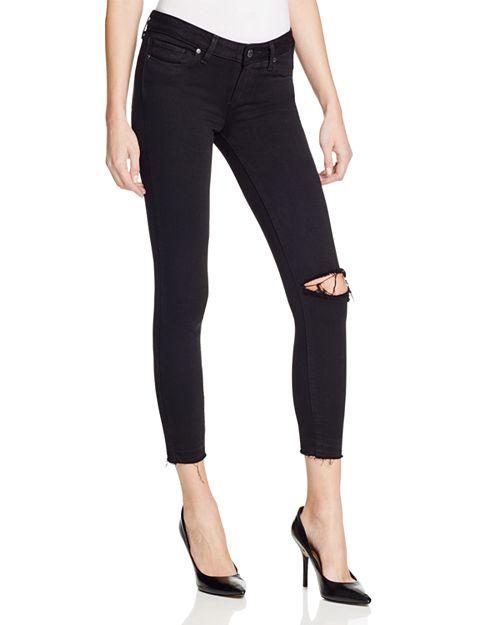 PAIGE - Verdugo Crop Jeans in Jet Black Destroyed