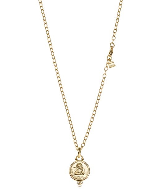 Temple St. Clair - 18K Yellow Gold Angel Pendant with Diamonds and Ball Chain