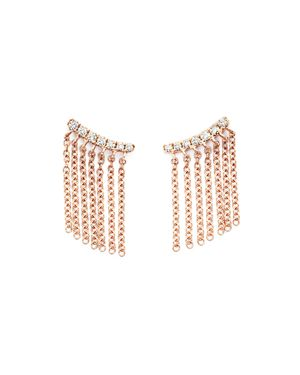 Diamond Ear Climbers with Fringe in 14K Rose Gold, .15 ct. t.w. - 100% Exclusive