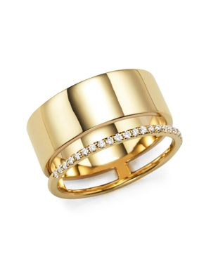 Diamond Double Band Ring in 14K Yellow Gold, .20 ct. t.w.