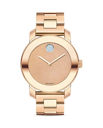 Movado - Deep Rose Gold Ion-Plated Glitter Dial Watch, 36mm