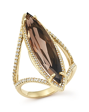 Smoky Quartz and Diamond Ring in 14K Yellow Gold - 100% Exclusive