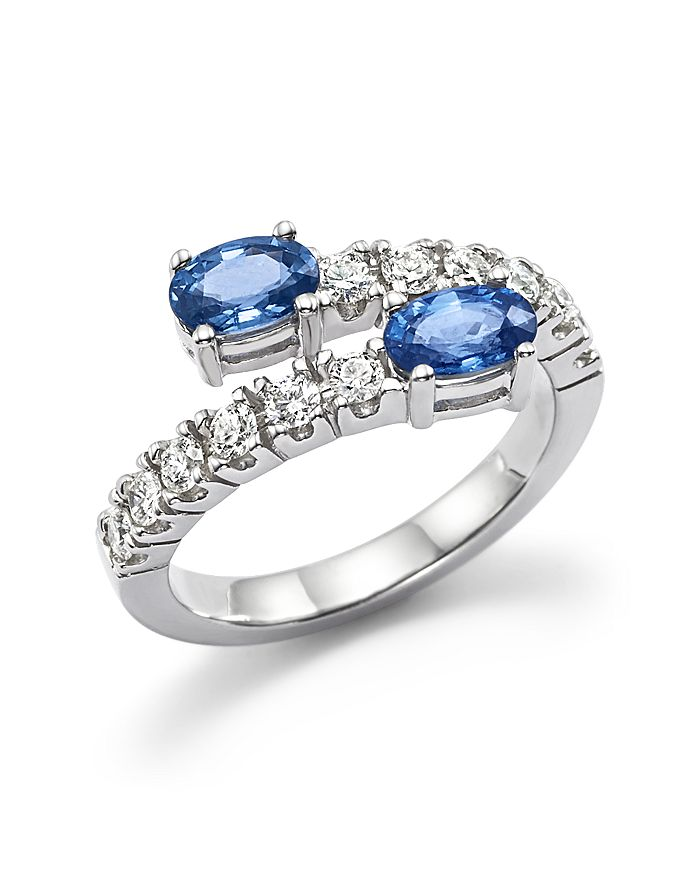 Bloomingdale's - Blue Sapphire and Diamond Two-Stone Bypass Ring in 14K White Gold - 100% Exclusive