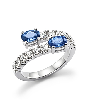 Diamond and Sapphire Two-Stone Bypass Ring in 14K White Gold - 100% Exclusive