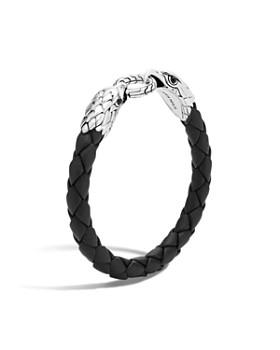 John Hardy - Men's Legends Eagle Silver Double Head Bracelet on Woven Black Leather with Black Onyx