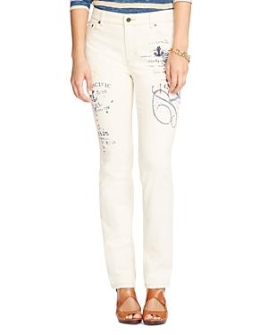 Lauren Ralph Lauren Embroidered Straight Leg Jeans