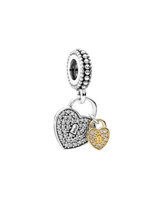 14 K Gold, Sterling Silver & Cubic Zirconia Love Locks Charm by Pandora
