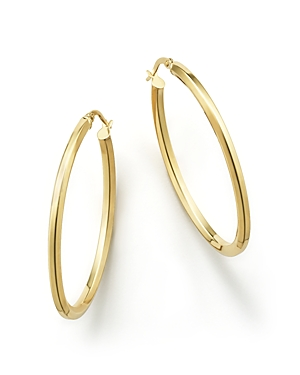 14K Yellow Gold Oval Hoop Earrings - 100% Exclusive