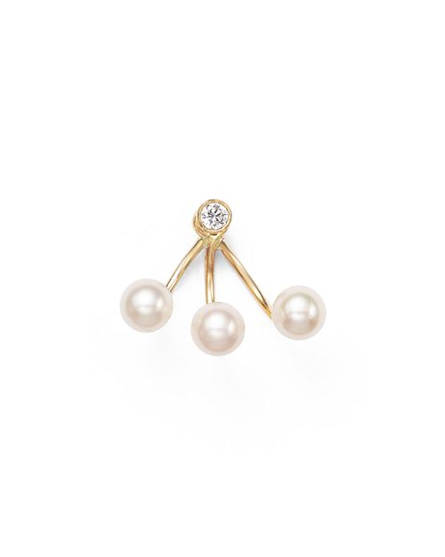 Zoë Chicco - 14K Yellow Gold and Diamond Stud Earring with Cultured Freshwater Pearl Ear Jacket