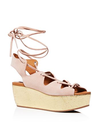 See by Chloé - Liana Cork Wedge Lace Up Sandals