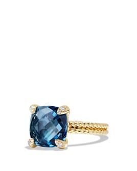 David Yurman - Châtelaine Ring with Gemstones & Diamonds in 18K Yellow Gold, 11mm