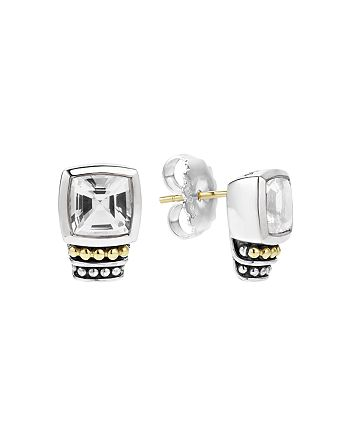 LAGOS - 18K Gold and Sterling Silver Caviar Color Stud Earrings with White Topaz