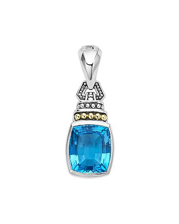 LAGOS - 18K Gold and Sterling Silver Caviar Color Pendant with Swiss Blue Topaz
