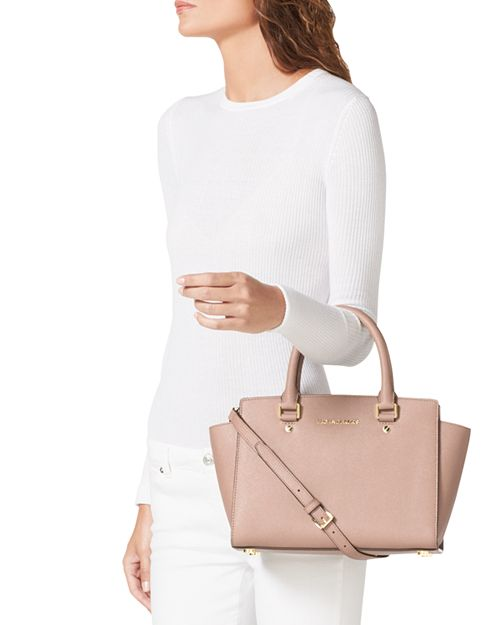 610de624ebfc ... low cost michael michael kors selma medium top zip satchel 7d4fc 66a73