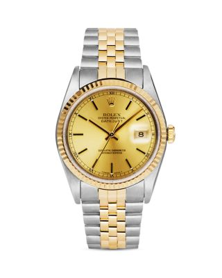 PRE-OWNED ROLEX STAINLESS STEEL AND 18K YELLOW GOLD TWO TONE DATEJUST WATCH WITH CHAMPAGNE FLUTED BE