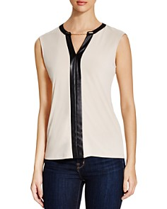 Calvin Klein - Chain & Faux Leather Trimmed Top